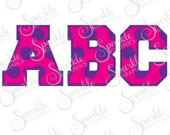 Polka Dot Font Cut File Polka Dot Monogram Font Polka Dot Monogram Clipart Svg Dxf Eps Png Silhouette Cricut Cut File Commercial Use