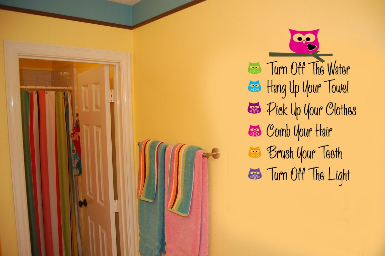 Owls BATHROOM RULES Kids Bathroom Vinyl Wall Lettering Decal