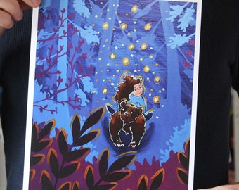 Girl and Bear Exploring a Forest; Fine Art Print