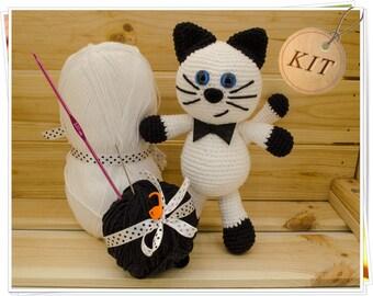 Crochet Cat Kit, Amigurumi Cat Kit, DIY Cat Kit, Crochet Kitty Kit, Cat Craft Kit, Plush Cat Kit, White Cat Kit, Cat Kit Set, Cat Gift