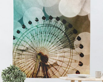 Wall Tapestry - Ferris Wheel Photo - Bokeh Photography - Carnival Photograph - Wall Decor - Home Decor - Aqua Blue Decor - Hipster Tapestry