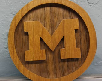 MIchigan Wolverines scroll saw cut ornament