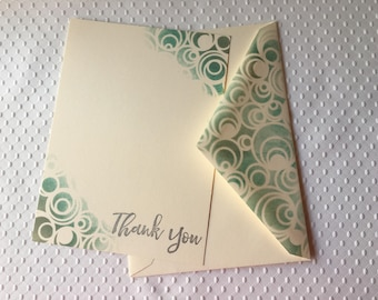 Silver-Green Stamped and Stenciled Thank You Cards - Set of 8 - Handmade cards - 5 1/8 x 7 in. - Boxed set with envelopes - Thank You Cards