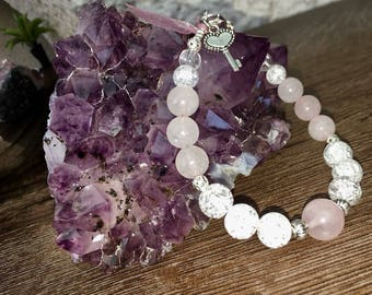 Bracelet wellness in pink and white Quartz natural stone beads