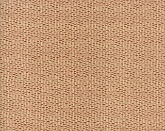20 % off thru 5/31 NEW HOPE-red dashes circles on tan lines 38034-11-by the half yard- Jo Morton Moda Civil War Reproduction cotton fabric