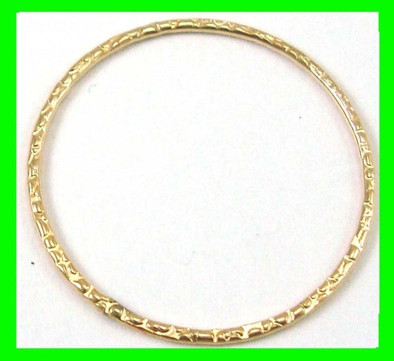 4pcs 25mm 14k Yellow Gold Filled Patterned Round Jump Ring