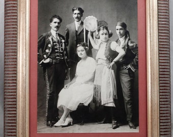 Antique Vintage Primitive Family Spanish/Gypsy? Photograph Framed Black White