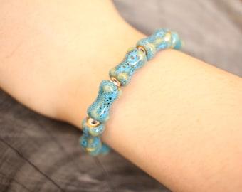 Ceramic Bead Bracelet Blue Bone