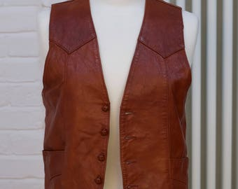 1970s Girls Leather waistcoat TONY LAMA 38 Girls
