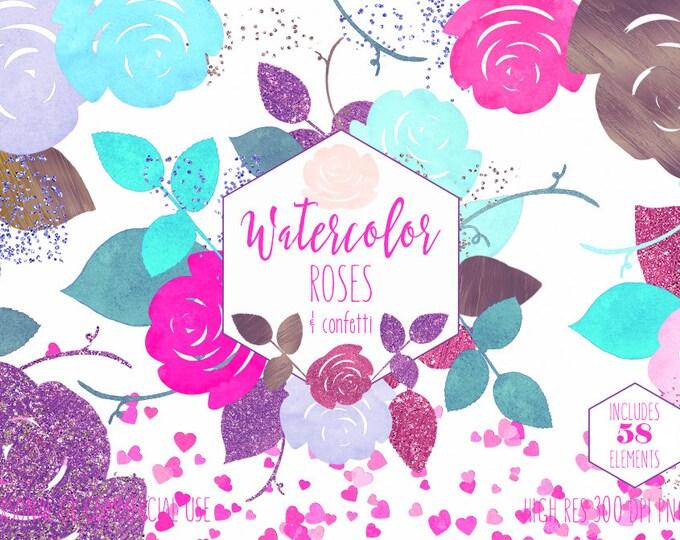 WATERCOLOR ROSES & HEART Confetti Clipart Commercial Use Clip Art Pink Aqua Mint Purple Watercolour Chic Flowers Wedding Invitation Graphics