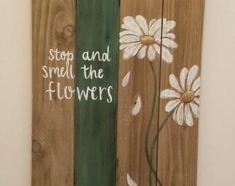 Wooden Wall Art Daisies
