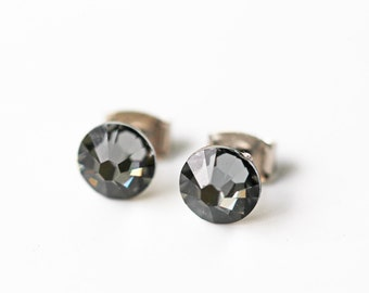 Simple Black Silver Night Swarovski Titanium Stud Earrings Crystal Brilliant Dainty Everyday Post Earrings