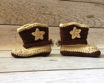 Baby Cowboy Boots - Infant Cowboy Boots - Crochet Cowboy Boots - Newborn Cowboy Boots - Cowgirl Boots - Cowboy Boots - Photography Prop -