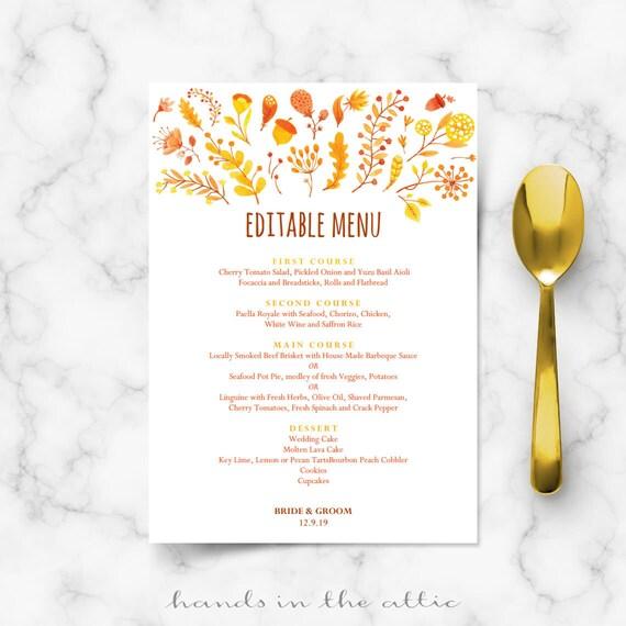 Wedding Food Menu Samples: Wedding Brunch Menu Template Printable Cards Fall Autumn