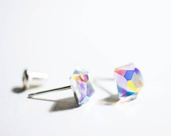 Tiny Square Swarovski Crystal Sterling Silver Stud Earrings