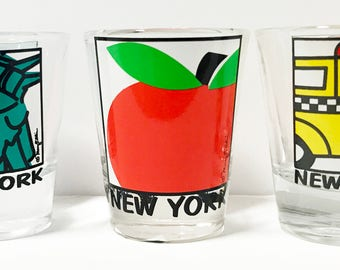 New York Shot Glass Set of 3 Statue Of Liberty, Big Apple, Taxi Cab NY Souvenir New York Barware Gift by Artist Mary Ellis