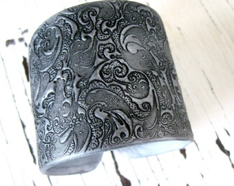 SALE Silver Cuff Bracelet Asian Style Ornate Design, Handmade Jewelry by theshagbag on Etsy