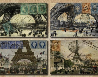 Shabby Chic Eiffel Tower Postcards French Antique Paris Decoupage Digital Collage Sheet Printable Instant Download 124