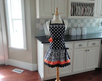 Tangerine and Damask - Ellie Style  Women's Apron 4RetroSisters