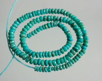 14-inch AAAA quality Arizona Sleeping Beauty Turquoise faceted beads size 3.5-5mm 52cts GW2131