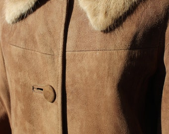 Vintage Light Brown Suede Coat with Blonde Mink Collar