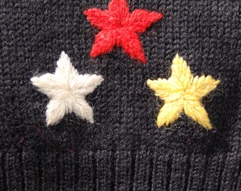 1960's black wool sweater vest with stars//Marshall Field & Co.