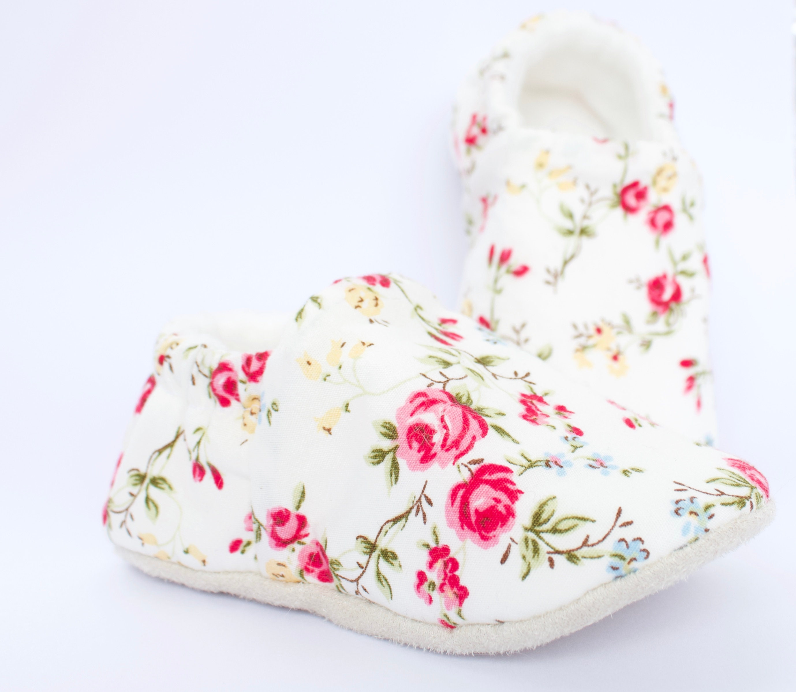 summer roses cotton Baby Girl Shoes Hand Made In England