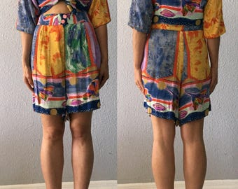 Vintage 2 Piece Romper 1990's 90's Crop Top High Waisted Shorts Playsuit
