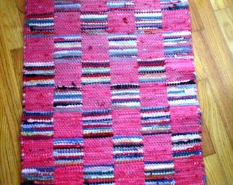 "RUG Vintage Braided / woven rag rug  Pinks 24 x 34"" w 3"" fringe"