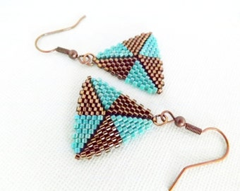 Peyote Earrings / Peyote Triangle Earrings / Beaded Earrings in Turquoise and Brown / Sterling Silver or  Copper / Seed Bead Earrings /