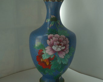 Vintage Japanese cloisonne vase /Cloisonne vase with multicolored flowers / Brass enamelled Cloisonne vase  ****SALE****