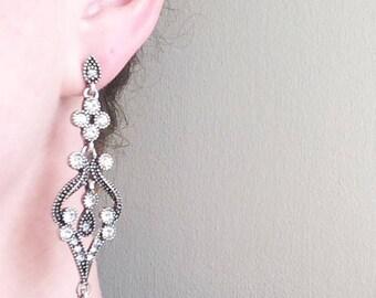 Huge drop earrings, bold earrings, statement earrings, large boho earrings, ivory pearl huge earrings, bohemian earrings, rustic earrings