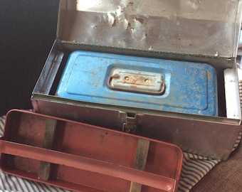 VINTAGE TOOL BOXES 3 metal storage containers, instant collection, rusty patina, industrial cool