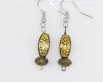 Filigree Goldtone Beaded Drop Earrings
