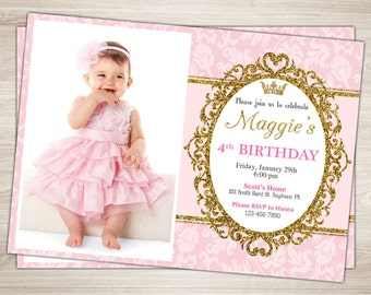 First Birthday Invitation. Pink and Gold 1st Birthday Invitation Girl Princess Birthday Party. Gold Glitter. Printable Photo Invite