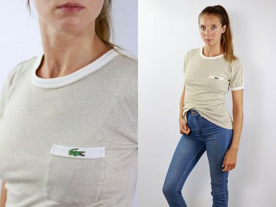 Lacoste T-Shirt Beige T-Shirt Lacoste Shirt Vintage Beige Shirt Lacoste Shirt Beige Lacoste Top Vintage Shirt Lacoste Shirt 90s Top Lacoste