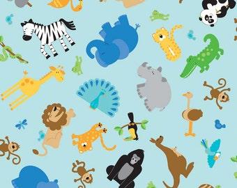 Zoofari Blue Main by Doodlebug Designs for Riley Blake, 1/2 yard