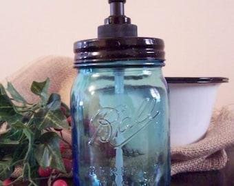 Blue Mason Jar with Black Pump Anniversary Edition Soap Lotion Dispenser 16 ounce size