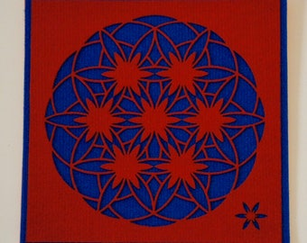 """Flower of life, Art Textile (synthetic fiber). Wall hanging, Mandala pattern """"Flower of life changing"""", 30 x 30 cm, red and blue."""