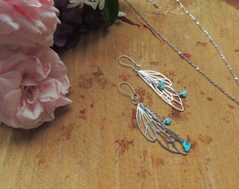 Dragonfly Wing Earrings, turquoise, blue, origami, fairy, silver, geometric, animal, love, romantic