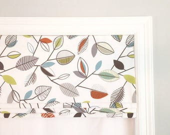 "SALE!!  Faux (fake) roman shade valance.  Lined.  Orange, Blue, Green Leaves.  50"" Wide x 17"" Long."