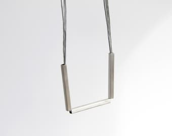 Bar Necklace, Sterling Silver Triple Bar square tube necklace, Geometric Necklace, Minimalist Necklace, Gift for her, Bar Necklace