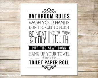 PRINTABLE ART Bathroom Wall Art Bathroom Wall Decor Bathroom Rules Art Funny  Bathroom Sign Black and White Bathroom Art
