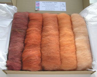 150g Drum Carded Batts - Sunset