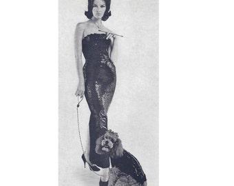 50s Sequin  Glam Dog Sweater Pattern Gown Crochet Pattern Vintage Sheath PDF D102