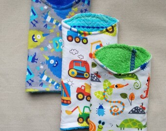 All Boy set of 3 Flannel Baby Burp Cloths, Monsters, Bugs, insects, Trucks, Construction vehicles, Baby Shower Gift, New Baby, Blue