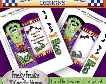 Frankenstein, Halloween Candy Bar wrapper, Printable, Laurie Furnell, Candy bar wrappers, Halloween printables, Papercrafts,