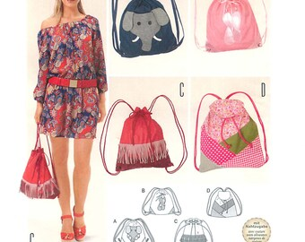 Burda 6688 Sewing Pattern for Draw String/Backpack Bags with Variations
