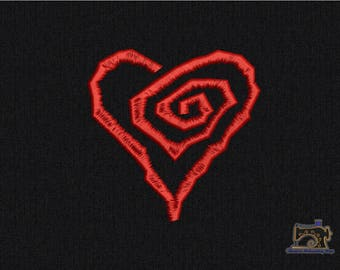 Spiral Heart Machine embroidery design 3 sizes for instant download