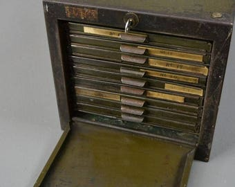 Vintage Industrial Roneodex Steel Filing Drawers